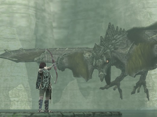 Wander faces off against an airborne opponent in Shadow of the Colossus. Credit to selectstartgames.files.wordpress.com