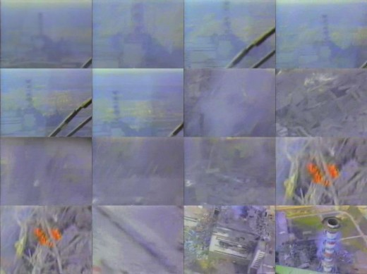 This photo montage shows shots taken from the air over Chernobyl during the meltdown. Two show the red glow of molten nuclear material in a run away meltdown. Radiation around the area was intense.