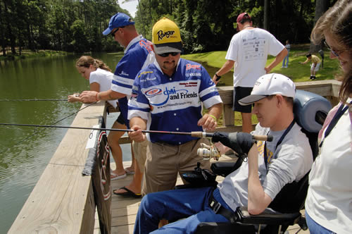 Individuals with disabilities are able to go fishing with family and new friends at Joni and Friends Family Retreats.