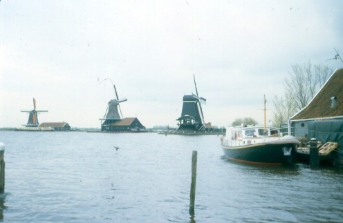 Wind and water: symbolic of Netherlands' power. Windmills near Amsterdam.