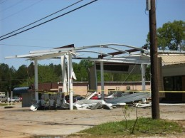 What is left of a gas station