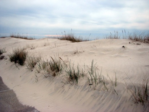 These sand dunes are located at the southern tip of the Eastern Shore of Virginia in beautiful Cape Charles. Cape Charles offers small town hospitality, a quiet beach, friendly taverns, fine dining and a golf course.