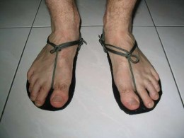Running sandals - comfortable, cheap and disposable.