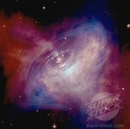This image taken by the Hubble Telescope is part of a real time animation of the Crab Nebula, which contains a pulsar neutron star.