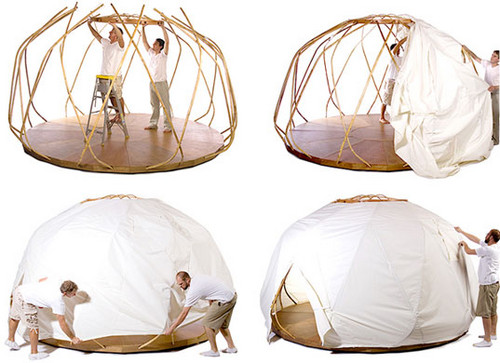 This is an alternative way to construct a yurt. This incorporates the wall with the roof in one unit.