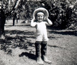 Me having fun in my grandfather's gardening boots.  They lived near my parent's home.