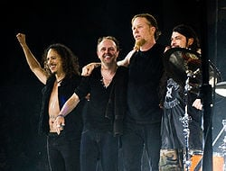Metallica at the O2 Arena in 2008. From left to right: Kirk Hammett, Lars Ulrich, James Hetfield and Robert Trujillo
