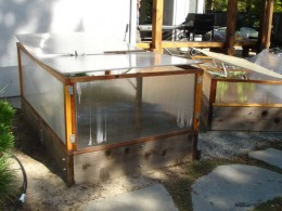 The raised bed serves as a mini-greenhouse in the winter.
