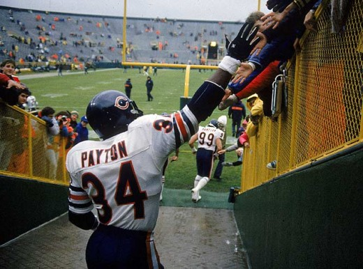 Walter Payton of the Chicago Bears Fans was loved by all his fans.