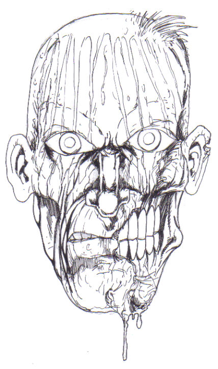 How to draw a zombies head. Drawings Copyright Wayne Tully 2010.