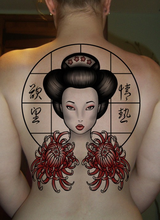 Tattoo Geisha Girls on Women Back