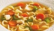 Vegan 'chicken' noodle soup