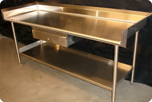 Stainless steel work benches for commercial kitchens