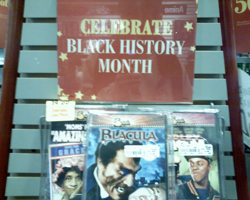 Display of videos for sale for Black History Month