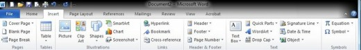 The new ribbon interface in Office 2010.