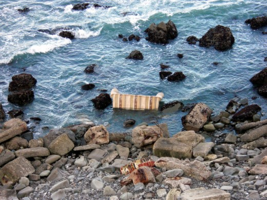 a lot of garbage washes up on shores around the world from across the ocean, carried by the winds and currents.