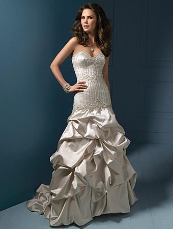 Wedding Dress: Alfred Angelo Wedding Dress Style 812 Iridescent Satin, Metallic Embroidery Crystal Beading, Sequins & Rhinestones Mermaid Style Dress Semi-Cathedral Train Optional Beaded Straps