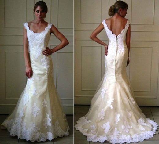 Wedding Dress:Alvina Valenta Bridal Gowns, Wedding Dresses: Style AV9863 Ivory silk duchess satin soft fluted bridal gown with tip of the shoulder delicate scoop neckline. Ivory silk organza overlay with white alencon appliqus throughout, covered but