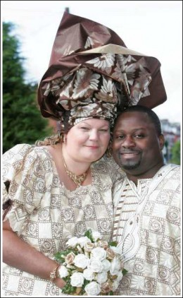 Cyril Adeoti and Diane Barton from Salford. Nigerian Wedding (UK)
