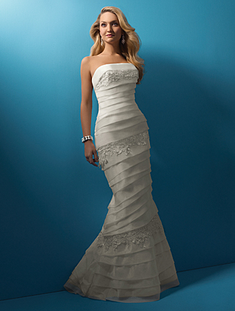Wedding Dress: Alfred Angelo Wedding Dress Style 2099 Organza over Satin, Re-embroidered Lace with Metallic Accents Crystal Beading & Sequins Optional Spaghetti Straps Chapel Train