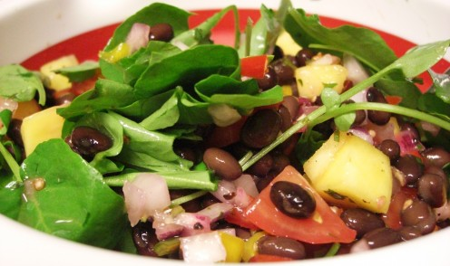 Mango salad tossed with watercress, Campari tomatoes, and black beans. Photo by MDJ Crumm, 2010.
