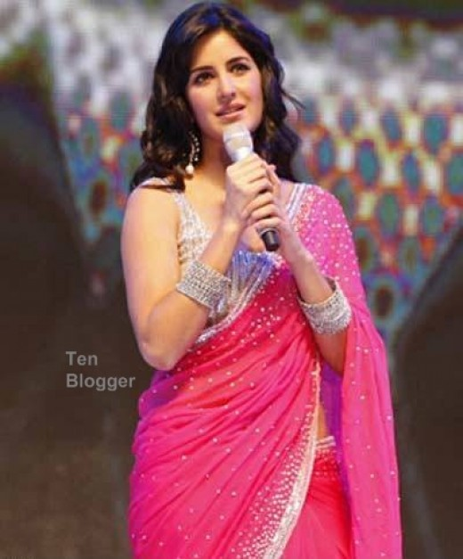Katrina Kaif in bollywood designer pink saree