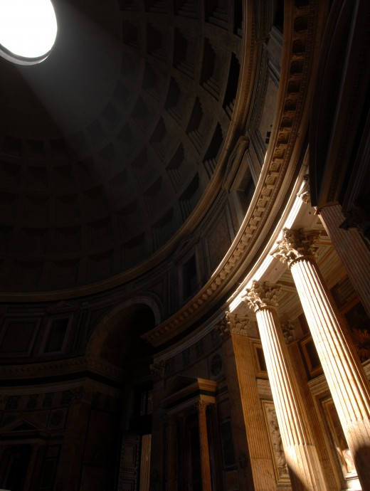 Inside the Pantheon, Rome Italy. The light shifts its  focus on sculptures as the day passes creating in each hour a new vision to focus our eyes upon.