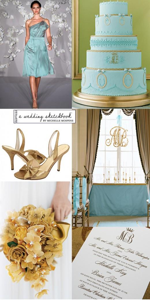 Aqua Blue And Gold Are Unique Wedding Colors