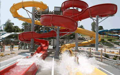 One of many outdoor water slides.