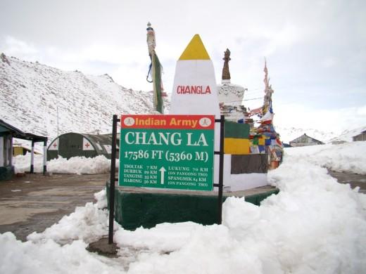 Chang La, the third highest motorable mountain pass, en route to Pangong lake