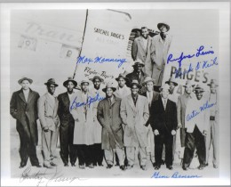 Photo of Satchel Paige's All Stars signed.