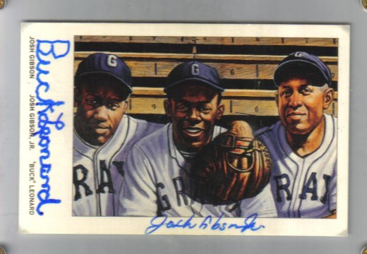 Ron Lewis card signed by Buck Leonard and Josh Gibson Jr.