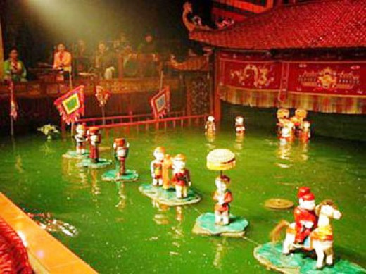 A water puppetry performance