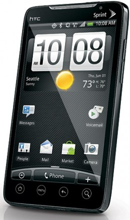 Front view of the HTC Evo 4G
