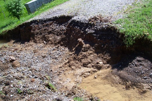 This is what water can do when it can't get threw the nearest culvert.  This is my driveway.