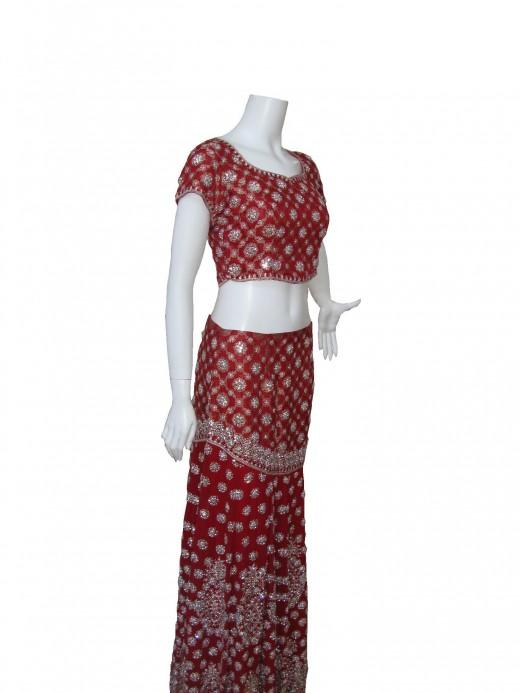 Sequins and Kundan work of heavy bridal ghagra choli