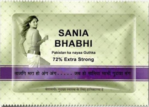 A sachet produced by a firm in Pakistan,to make use of Sania's name