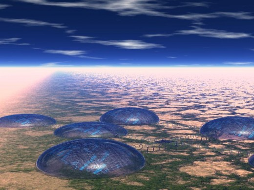 Above,computer graphic image of domed cities.