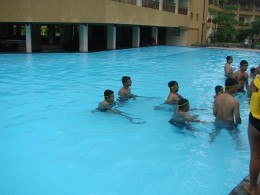 A large pool area enough for some fun activities