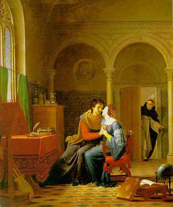 Jean Vignaud's Les Amours d'Hlose et d'Abeilard. The original artwork is oil on canvas, completed in 1819.