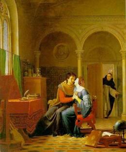 Jean Vignaud's Les Amours d'Hlose et d'Abeilard. The original artwork is oil on canvas, completed in 1819.