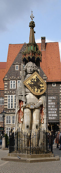 The Roland statue, symbol of the city's independence and trading right. Legend has it that as long as the Roland statue stands on the market place, Bremen will retain its autonomy.