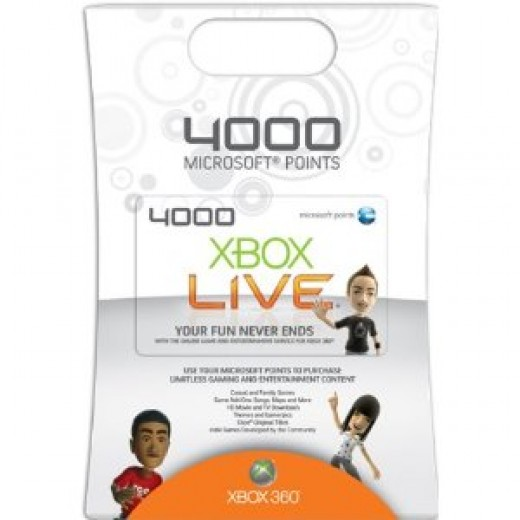 4000 Microsoft Points card which is used to buy products of the Xbox Marketplace.   Picture from Amazon.com