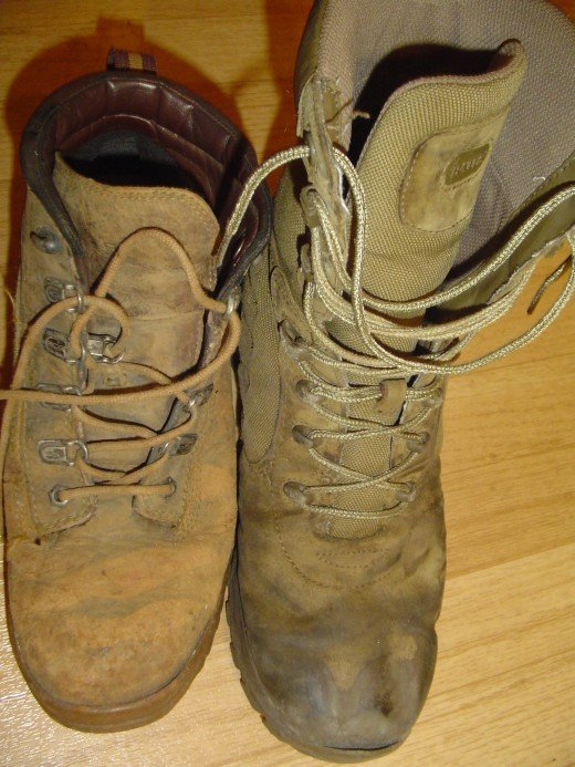Yes, both of these look quite ugly, but they have seen a lot of action and have never been cleaned! Nike ACG on the left, Bates M9 on the right