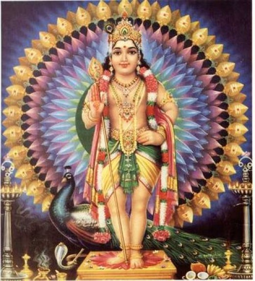 "Lord Muruga, with ""Vel"" (spear) in hand and his vehicle Peacock standing by."