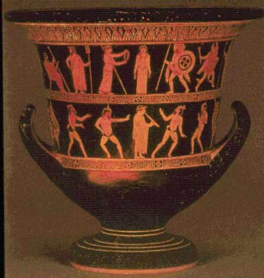 Large Red Figure Krater Vase, Pandora and the Gods, Pan and Satyrs. 5th Century BC, British Musuem.