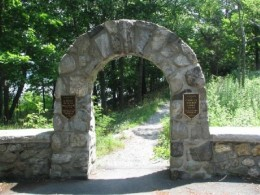 This is the entrance, in the day time to West Point's Flirtation Walk.