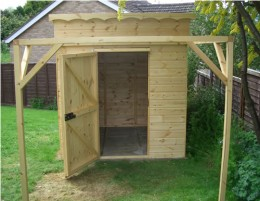 Another great example of a wooden storage shed.  This one is small and plain.