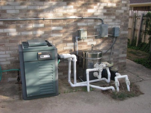 Heater and pumps for inground swimming pool