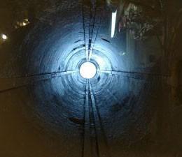 A torpedo tube of a submarine.